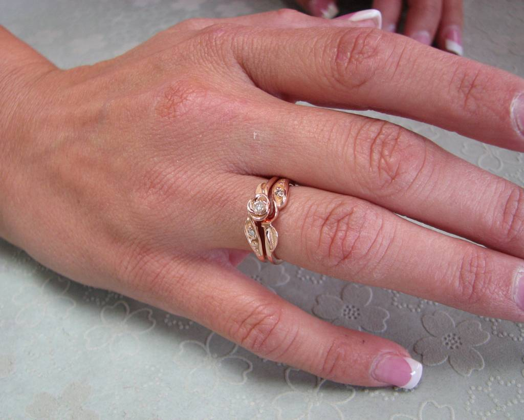 Diamond Rose Gold Wedding Set, Tea Rose - Wexford Jewelers
