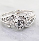 Signature Rose Diamond White Gold Wedding Set, Tea Rose