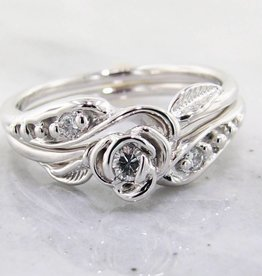 Signature Rose Diamond White Gold Wedding Ring Set, Tea Rose