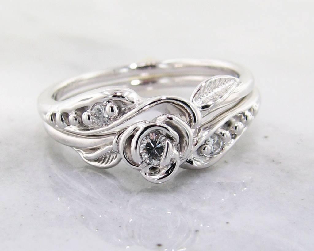 Diamond White Gold Wedding Ring Set Tea Rose Wexford Jewelers