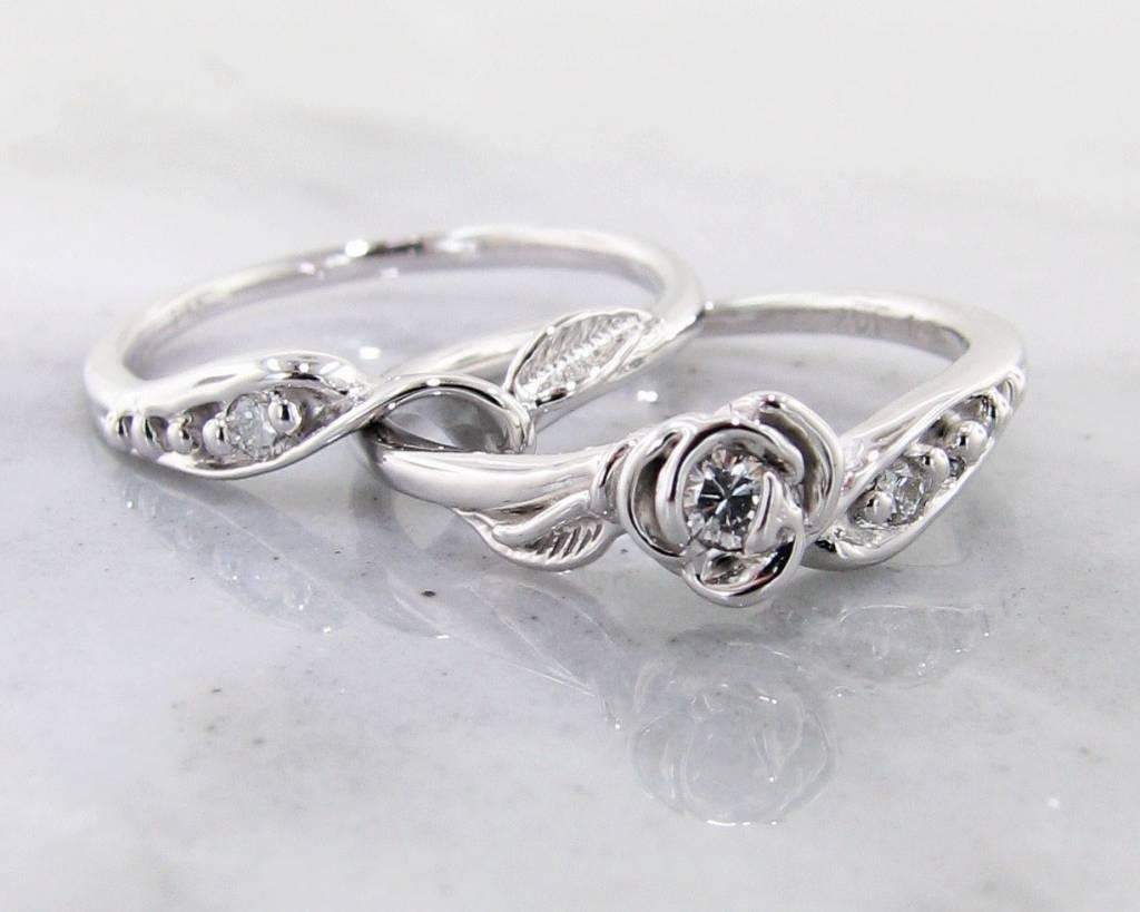 Signature Rose Diamond White Gold Wedding Set, Tea Rose