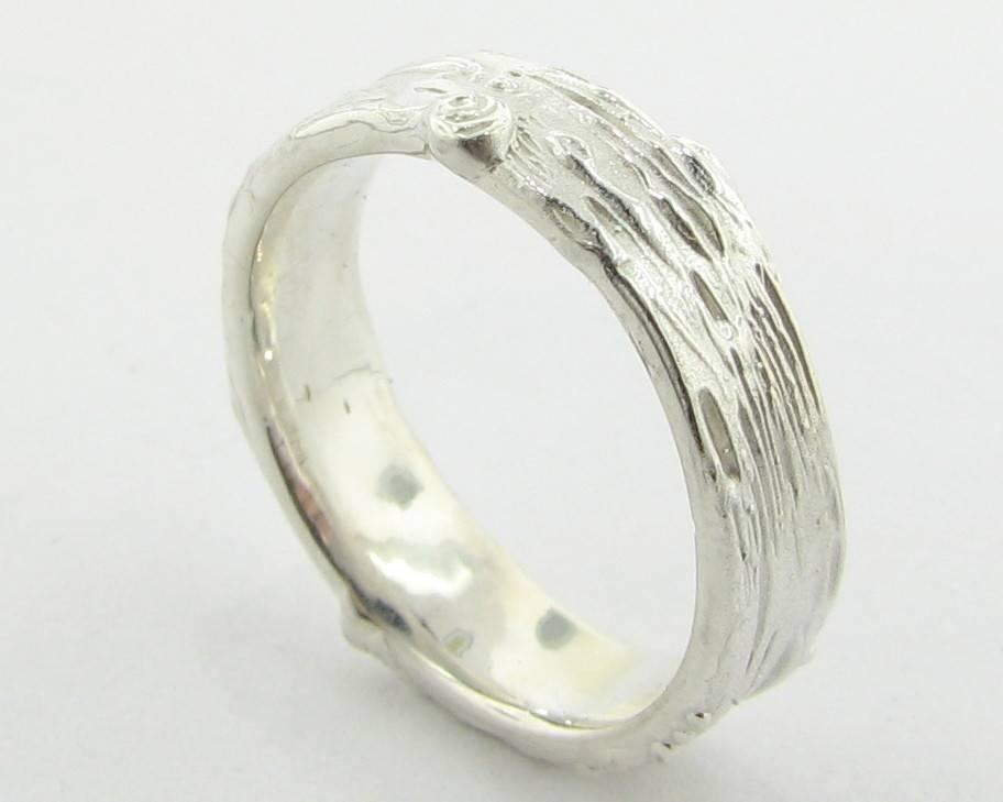 Rustic Silver Ring, Medium Birch Band