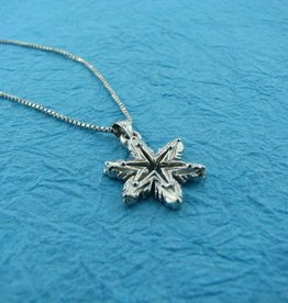 Snowflake White Gold Snowflake Necklace, Ludington