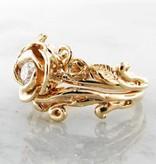 Signature Rose Diamond Yellow Gold Wedding Ring Set, Rose Garland