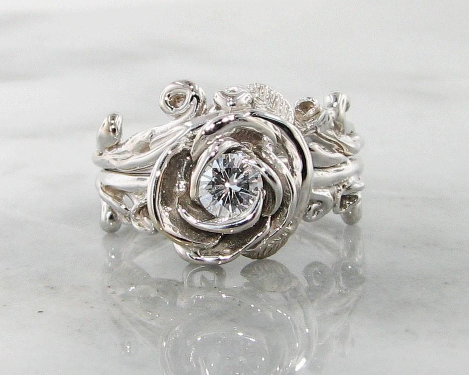 Diamond White Gold Wedding Ring Set Rose Garland Wexford Jewelers