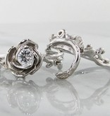 Signature Rose Diamond White Gold Wedding Rign Set, Rose Garland