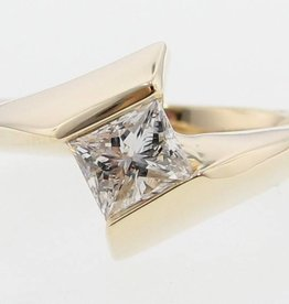 Sleek Princess Cut Diamond Yellow Gold Ring, Euro Bezel