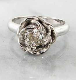Signature Rose Old Euro Cut Diamond White Gold Ring, Midsummer Rose