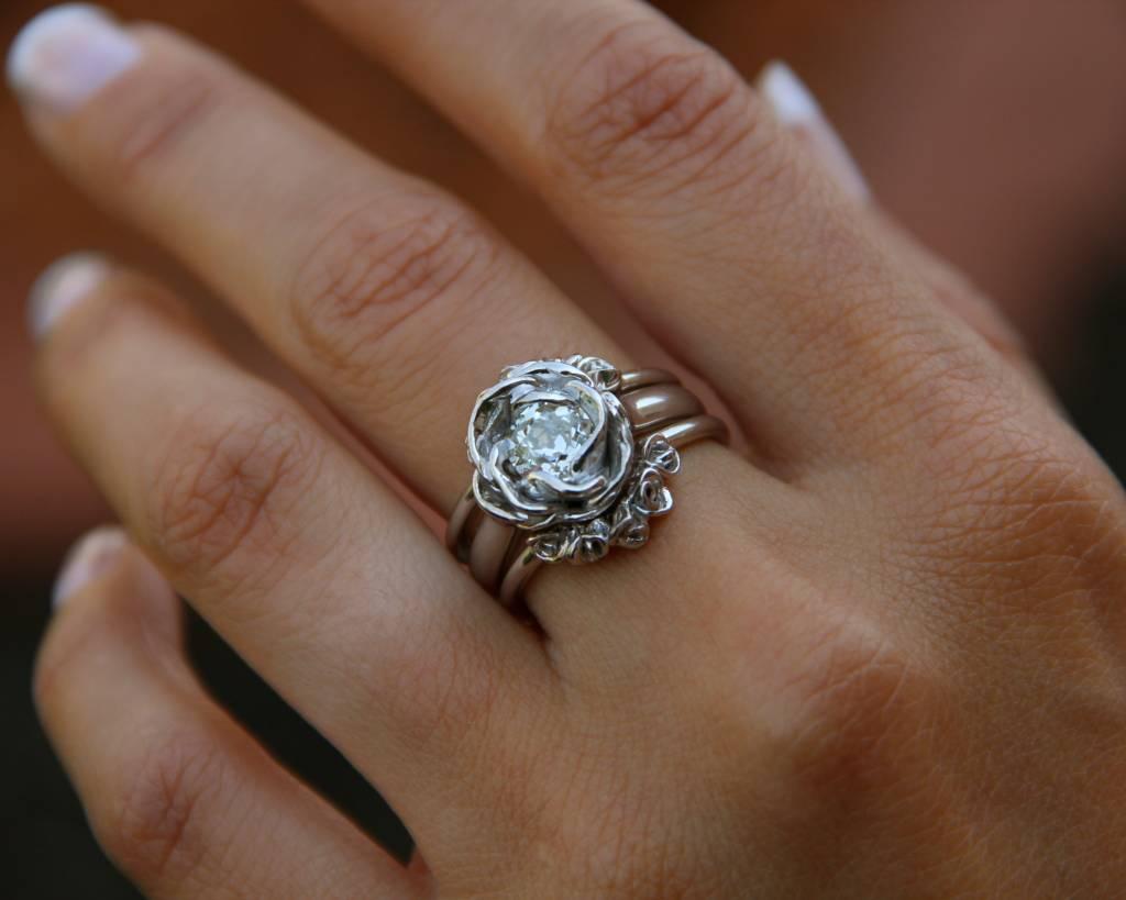 Signature Rose Old Euro Cut Diamond White Gold Ring, Midsummer Rose