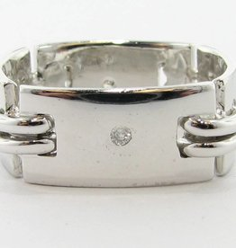 Sleek Diamond Silver Men's Ring, Art Deco Band