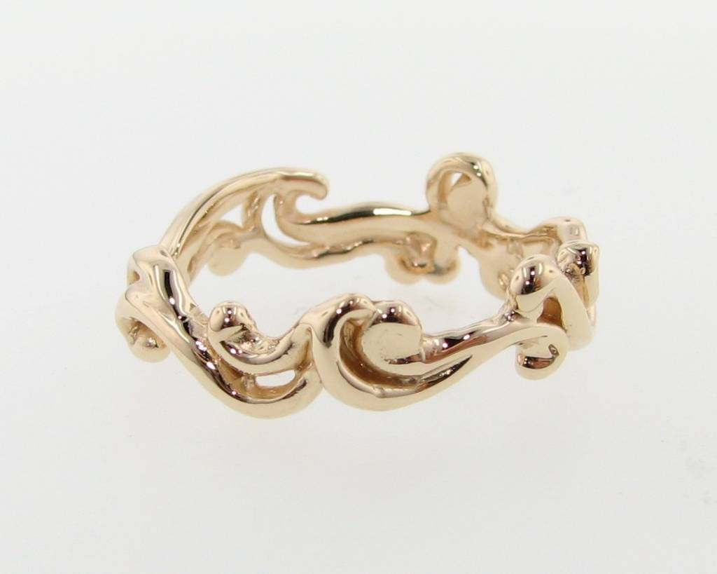 Motion Yellow Gold Ring, Cirrus Cloud Band