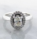 Trending Bridal Oval Diamond White Gold Halo Ring, Wexford Standard