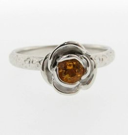 Signature Rose Citrine Silver Ring, Stacking Solitaire Rose