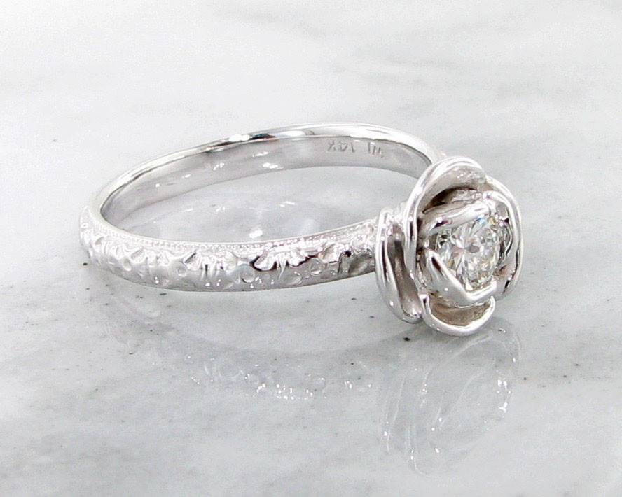 Signature Rose Diamond White Gold Ring, Stacking Solitaire Rose