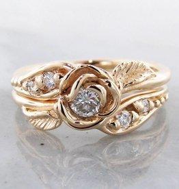 Signature Rose Diamond Yellow Gold Wedding Ring Set, Prize Tea Rose