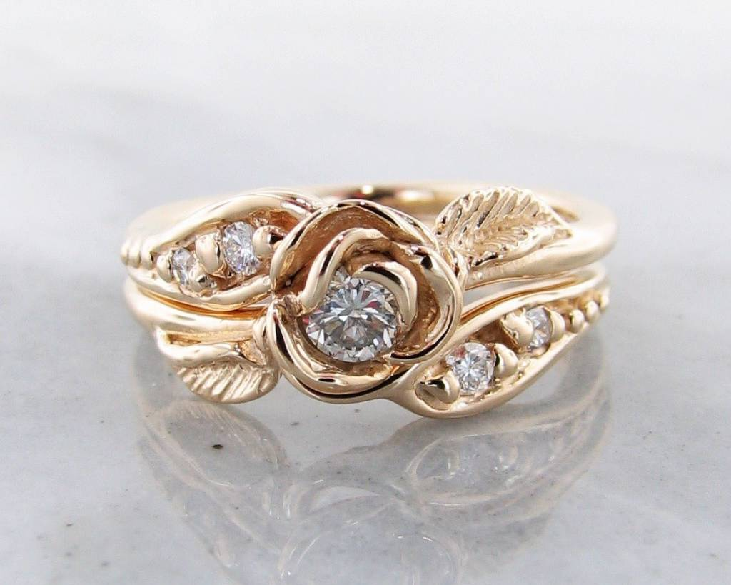 Diamond Yellow Gold Wedding Ring Set Prize Tea Rose Wexford Jewelers