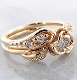 Signature Rose Diamond Yellow Gold Wedding Ring Set, Prize Tea Rose