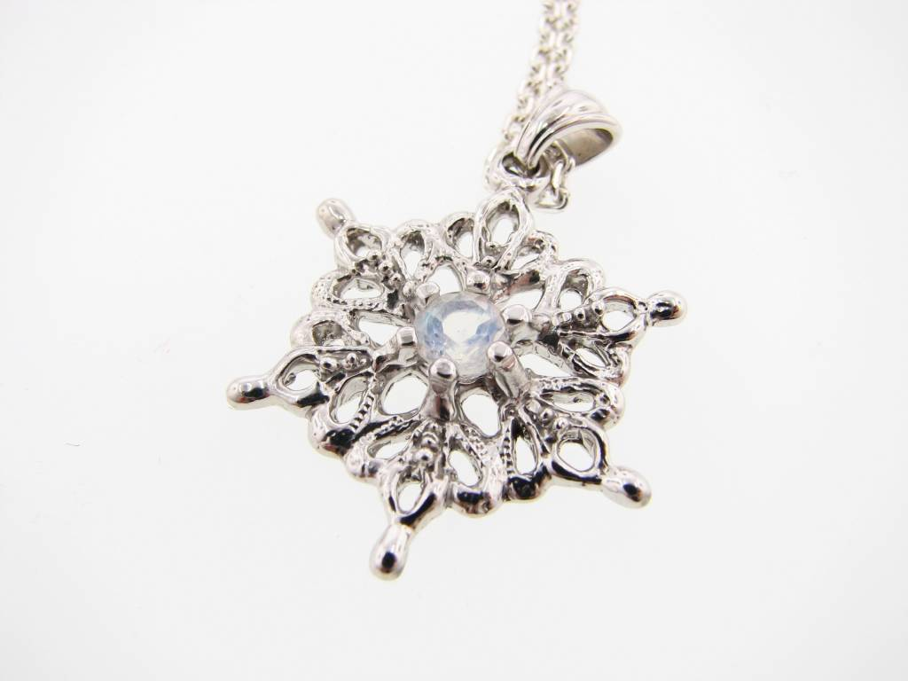 glitter necklace in pendant stock steel snowflake silver product stainless back
