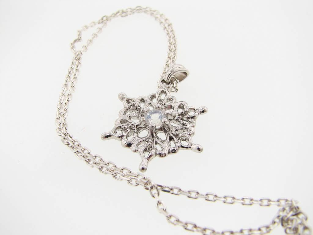 Snowflake Moonstone Silver Snowflake Necklace, St. Joseph