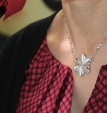 Snowflake Rose Gold Diamond Snowflake Pendant,  Art Deco