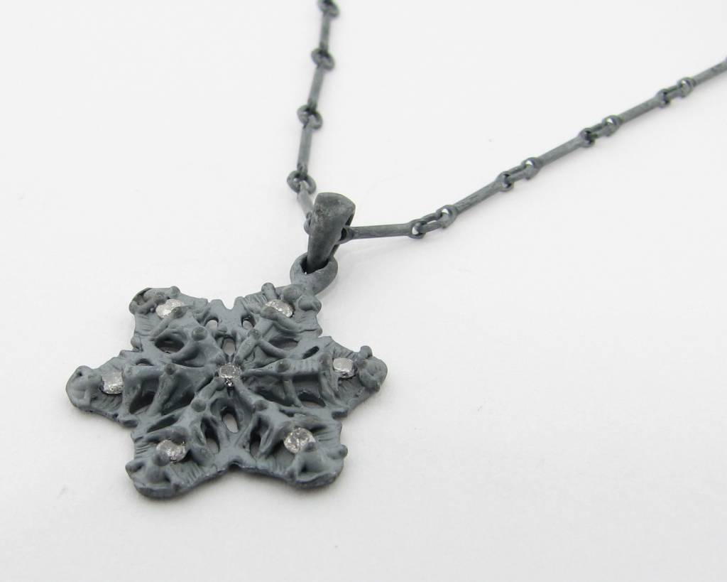 Snowflake Diamond Blackened Silver Snowflake Necklace, Traverse City