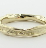 Organic Yellow Gold Ring, Skinny Melted Band