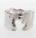 Rustic Blue Diamond Silver Ring, Pure Michigan