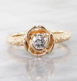 Signature Rose Yellow Gold Diamond Ring, Stacking Solitaire Rose