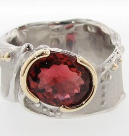 Organic Tourmaline Silver Gold Two Tone Ring, Blushing Autumn