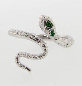 Organic Silver Tsavorite Garnet Ring, Garden Snake