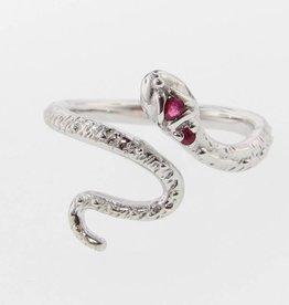Organic Silver Ruby Ring, Garden Snake