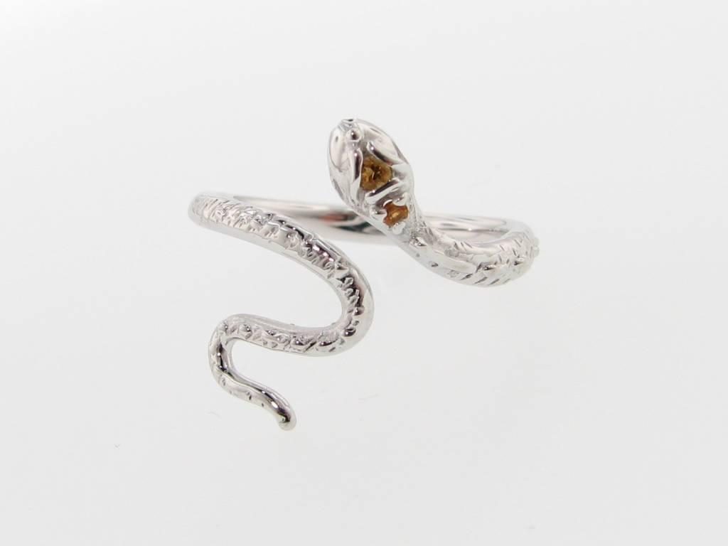 Organic Silver Citrine Ring, Garden Snake