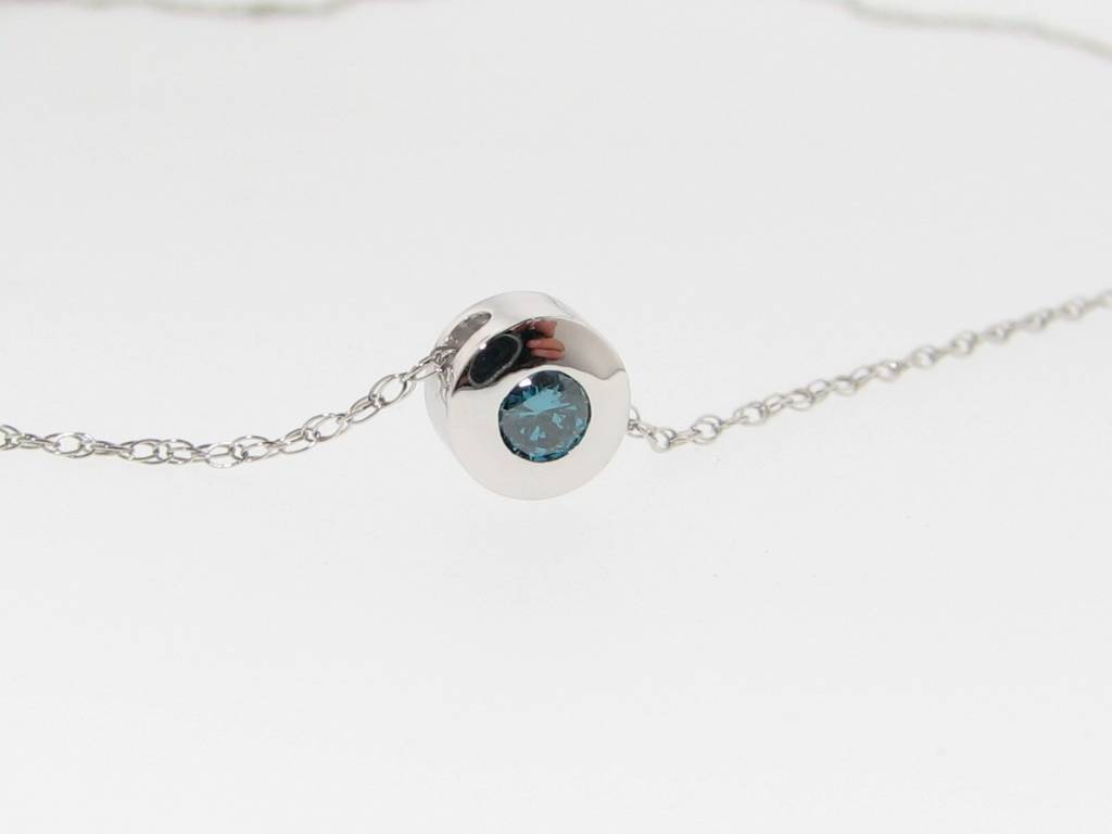 Sleek White Gold Blue Colored Diamond Necklace Slider