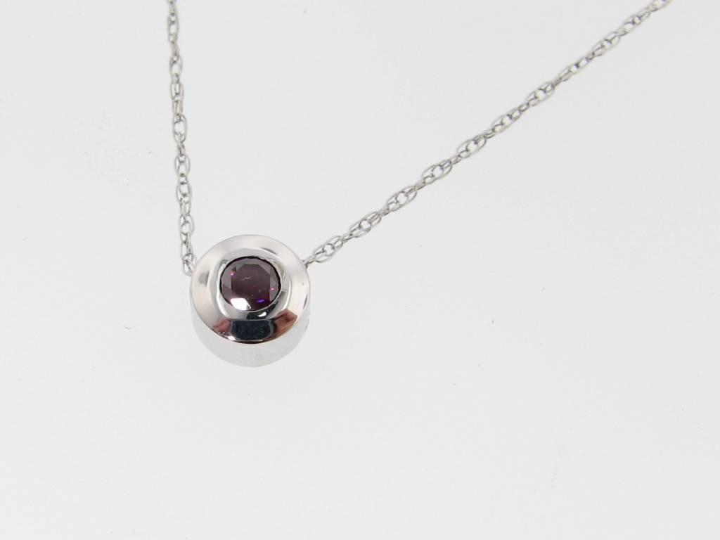 Sleek White Gold Purple Colored Diamond Necklace Slider
