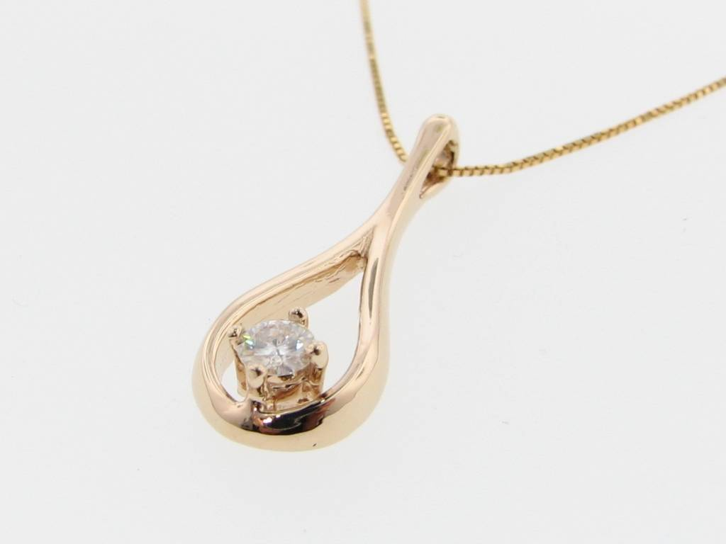 Motion Yellow Gold Diamond Necklace, Droplet