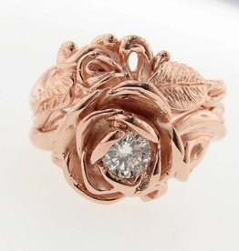 Signature Rose Rose Gold Diamond Wedding Ring Set, English Roses