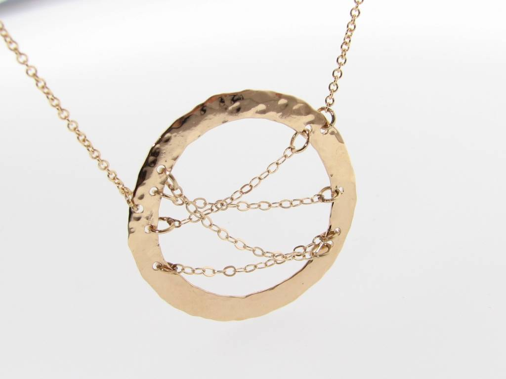 Hammered Yellow Gold Hoop Chain Necklace, Hammered