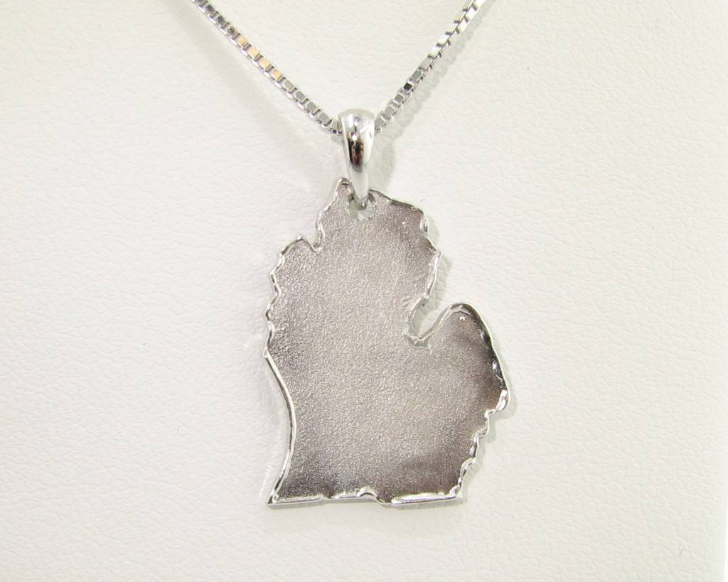 Rustic Silver Michigan Pendant, Sandblast Finish, Pleasant Peninsula