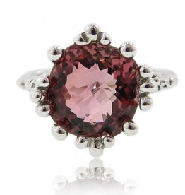 Vintage White Gold Pink Tourmaline Ring, Princess