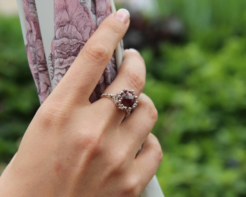 Vintage White Gold Pink Tourmaline Ring, Princess