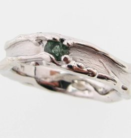 Organic Green Tourmaline Silver Ring, Medium Melted