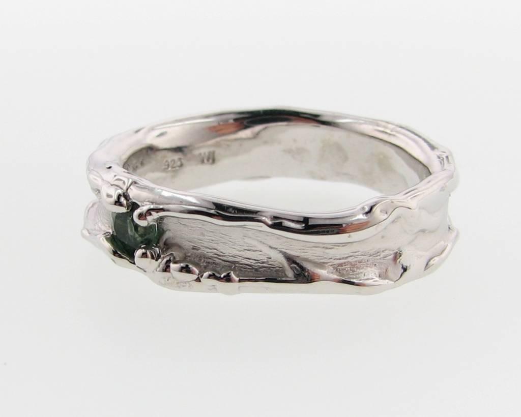 Organic Green Tourmaline Silver Ring, Medium Melted