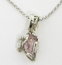 Rustic Raw Pink Beryl White Gold Pendant, Rough