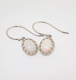 Vintage Australian Opal White Gold Dangle Earrings