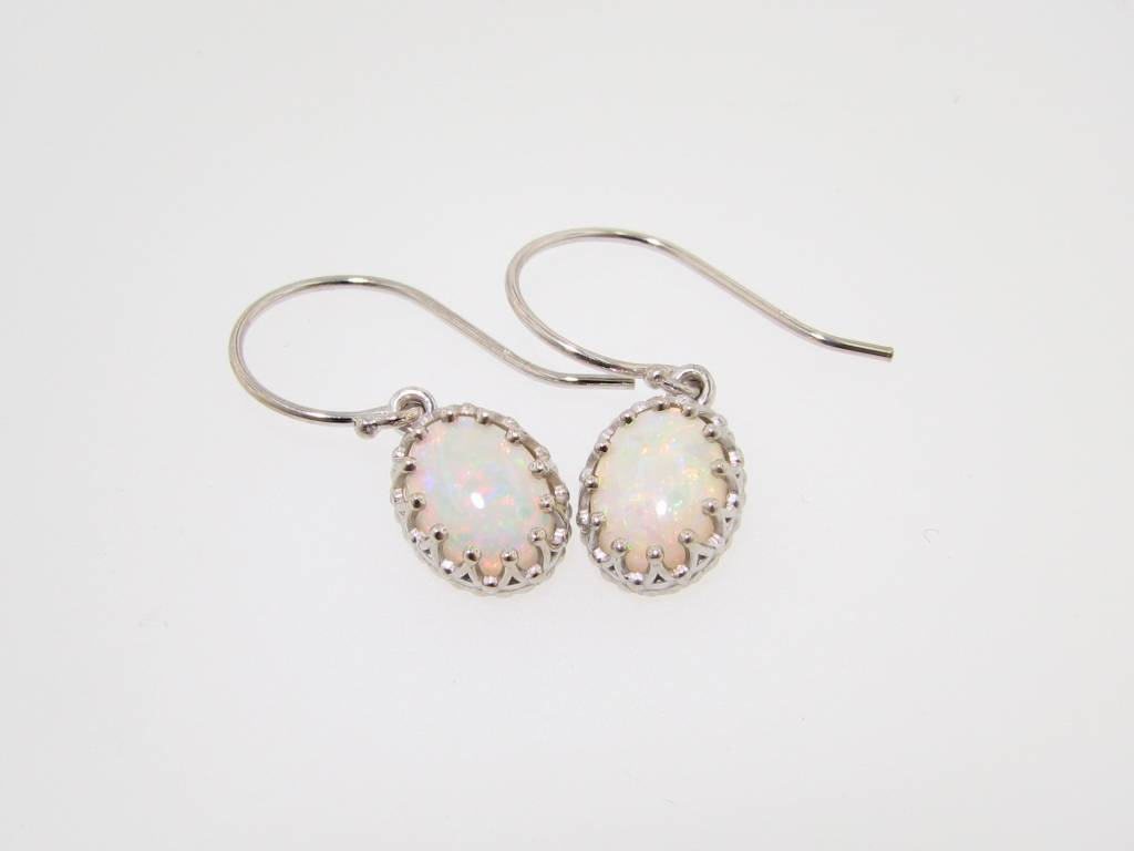 Vintage Australian Opal White Gold Dangle Earrings