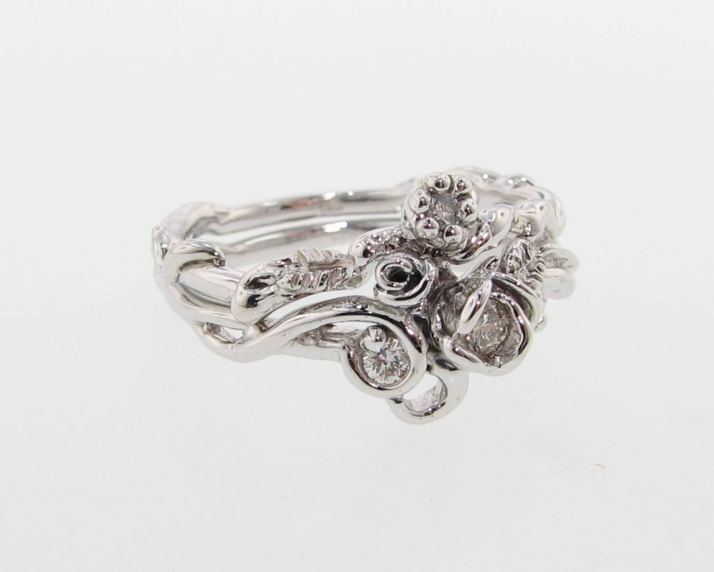Signature Rose White Gold Diamond Engagement Ring Set, Rose Garden