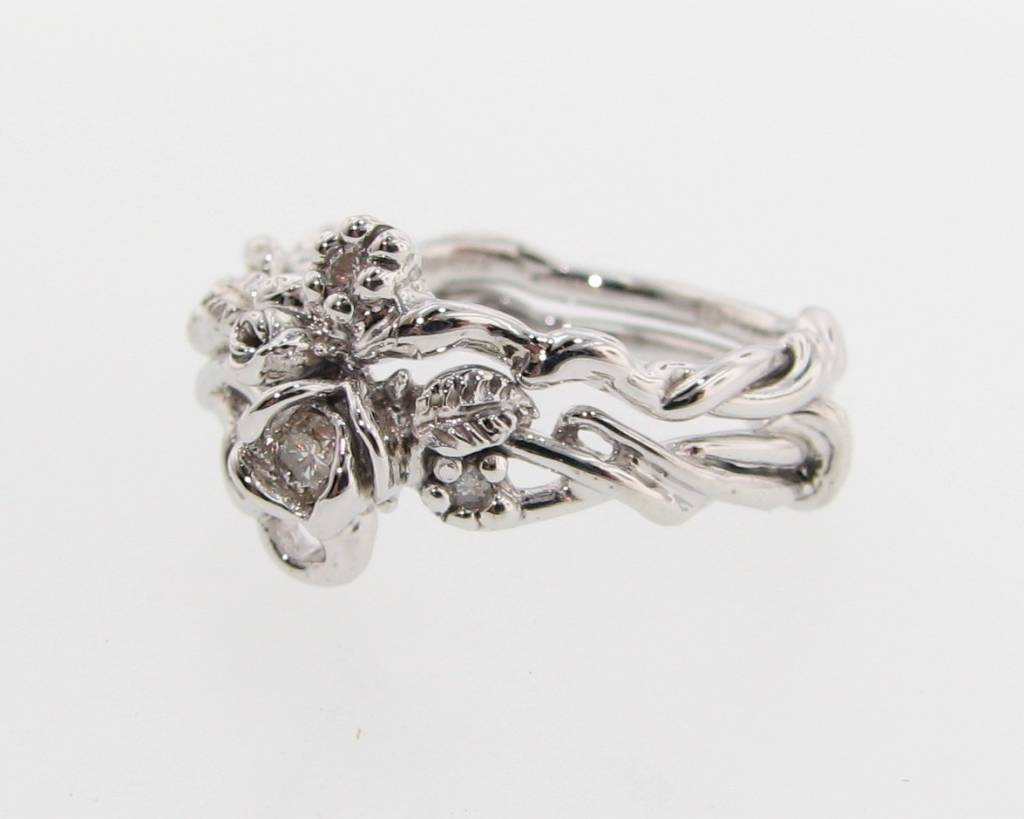 Signature Rose White Gold Diamond Engagement Ring Set, Rose Garden
