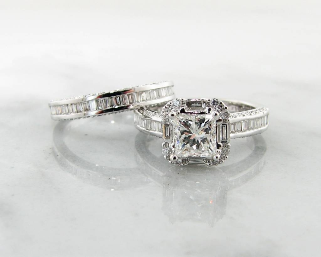 White Gold 1ct Princess Cut Diamond Wedding Ring Set Baguette Halo