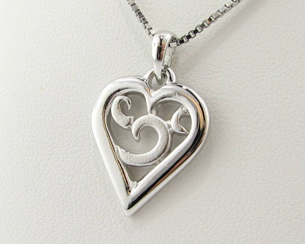 Signature Heart Silver Heart Necklace Duo Finish, Inamorata