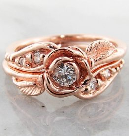 Signature Rose Diamond Rose Gold Wedding Ring Set, Prize Tea Rose